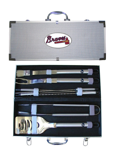 Atlanta Braves 8 pc Stainless Steel BBQ Set w/Metal Case