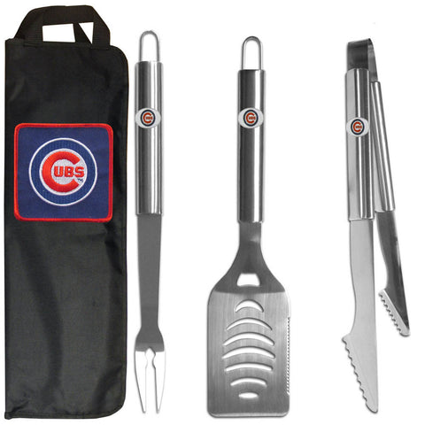 Chicago Cubs 3 pc Stainless Steel BBQ Set with Bag