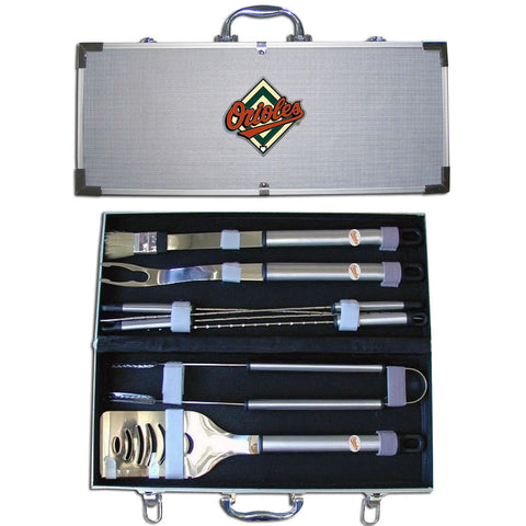 Baltimore Orioles 8 pc Stainless Steel BBQ Set w/Metal Case