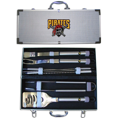Pittsburgh Pirates 8 pc Stainless Steel BBQ Set w/Metal Case