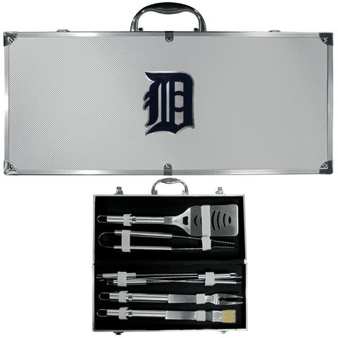 Detroit Tigers 8 pc Stainless Steel BBQ Set w/Metal Case