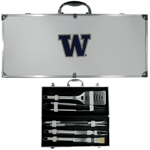 Washington Huskies 8 pc Stainless Steel BBQ Set w/Metal Case