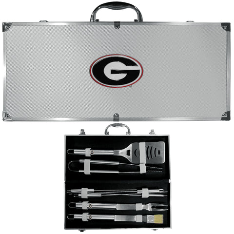 Georgia Bulldogs 8 pc Stainless Steel BBQ Set w/Metal Case