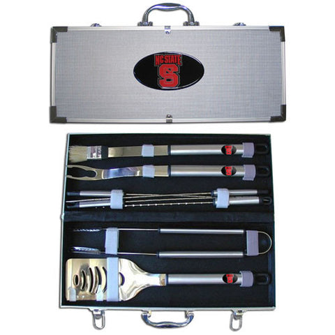 N. Carolina St. Wolfpack 8 pc Stainless Steel BBQ Set w/Metal Case