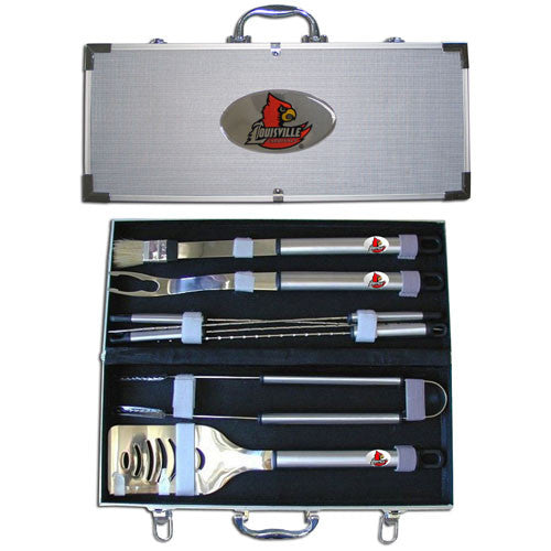 Louisville Cardinals 8 pc Stainless Steel BBQ Set w/Metal Case