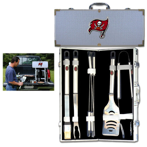 Tampa Bay Buccaneers 8 pc Stainless Steel BBQ Set w/Metal Case