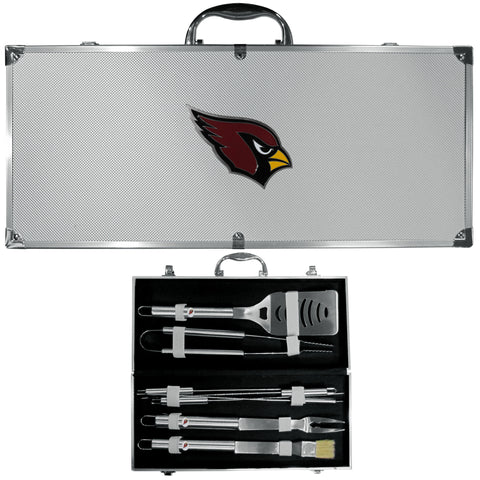 Arizona Cardinals 8 pc Stainless Steel BBQ Set w/Metal Case