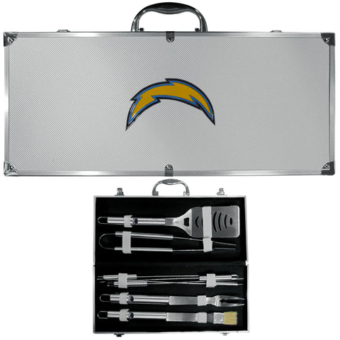 San Diego Chargers 8 pc Stainless Steel BBQ Set w/Metal Case