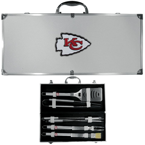 Kansas City Chiefs 8 pc Stainless Steel BBQ Set w/Metal Case