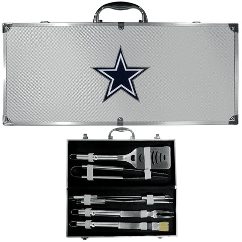 Dallas Cowboys 8 pc Stainless Steel BBQ Set w/Metal Case