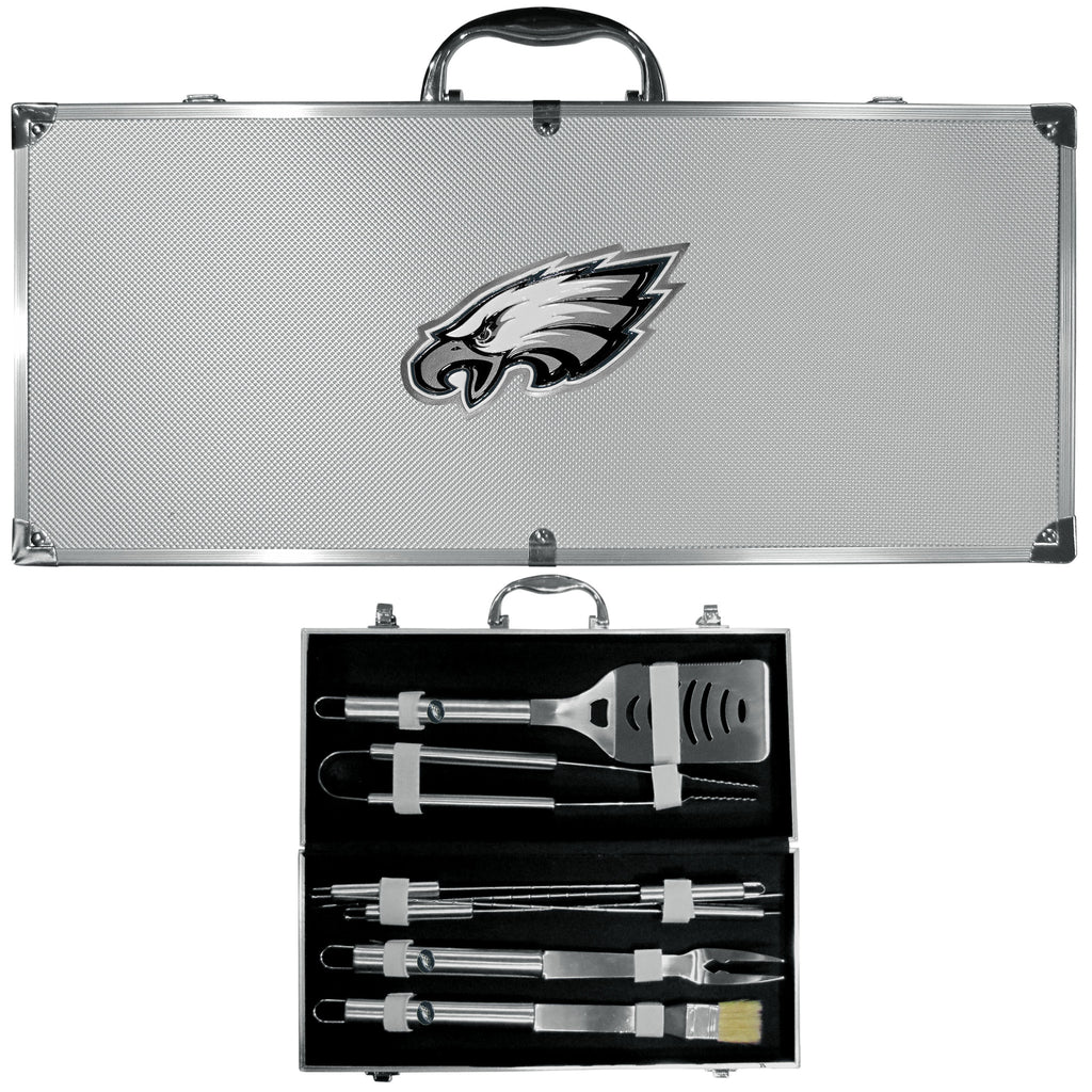 Philadelphia Eagles 8 pc Stainless Steel BBQ Set w/Metal Case