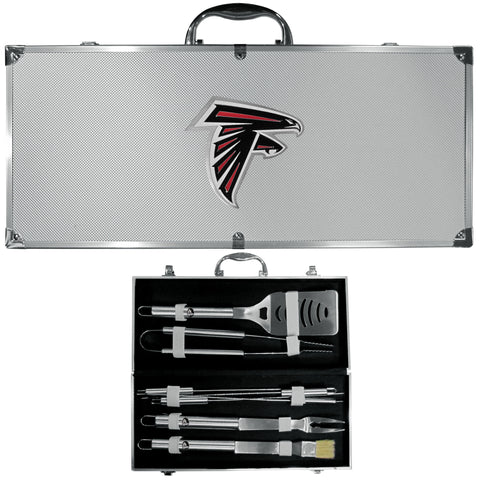 Atlanta Falcons 8 pc Stainless Steel BBQ Set w/Metal Case