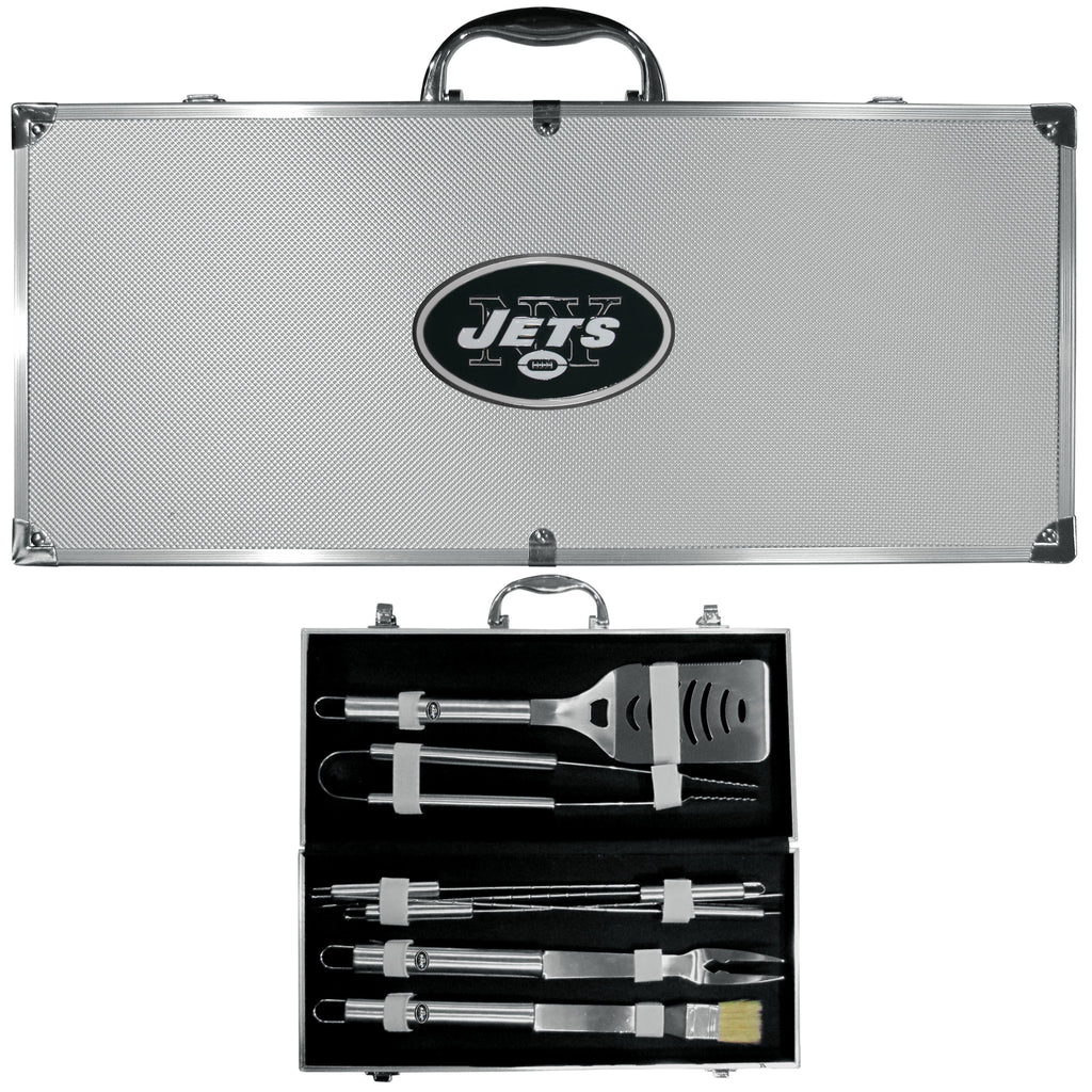 New York Jets 8 pc Stainless Steel BBQ Set w/Metal Case