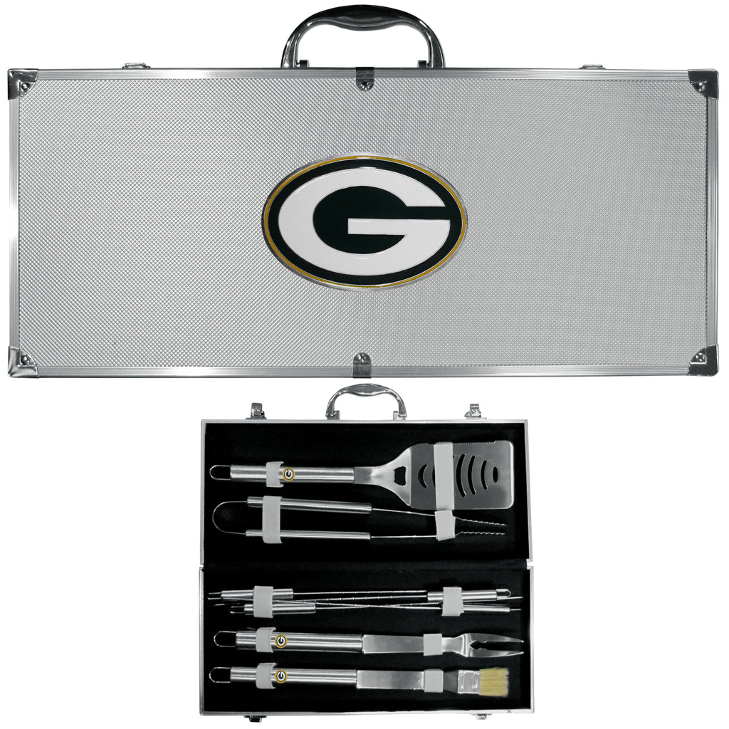 Green Bay Packers 8 pc Stainless Steel BBQ Set w/Metal Case