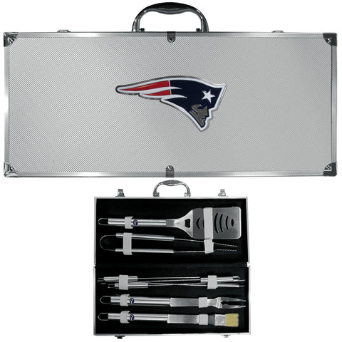 New England Patriots 8 pc Stainless Steel BBQ Set w/Metal Case