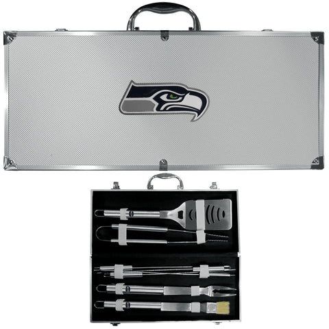 Seattle Seahawks 8 pc Stainless Steel BBQ Set w/Metal Case