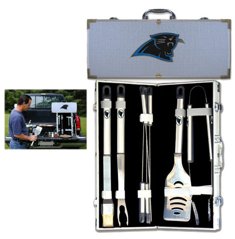 Carolina Panthers 8 pc Stainless Steel BBQ Set w/Metal Case