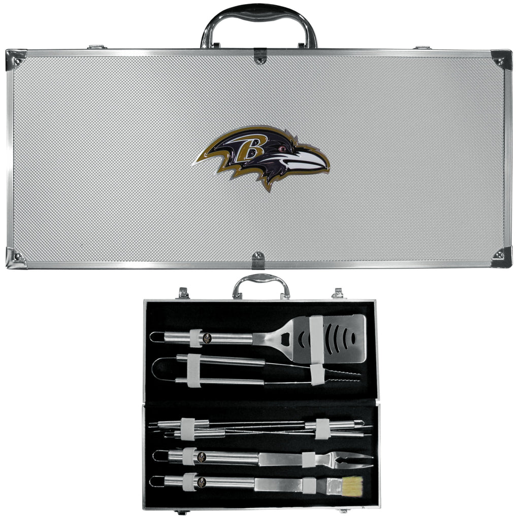 Baltimore Ravens 8 pc Stainless Steel BBQ Set w/Metal Case