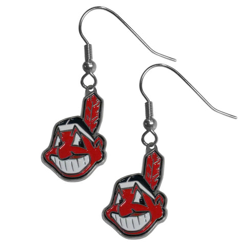 Cleveland Indians Chrome Dangle Earrings