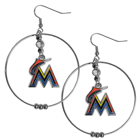 Miami Marlins 2 Inch Hoop Earrings