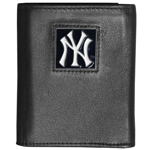 New York Yankees Deluxe Leather Tri-fold Wallet Packaged in Gift Box