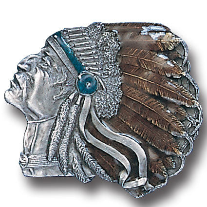 Pontiac Indian  Enameled Belt Buckle
