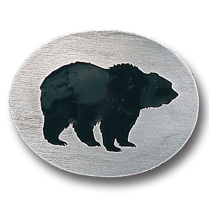 Grizzly Silhouette Enameled Belt Buckle