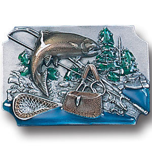Fish with Gear Background Enameled Belt Buckle