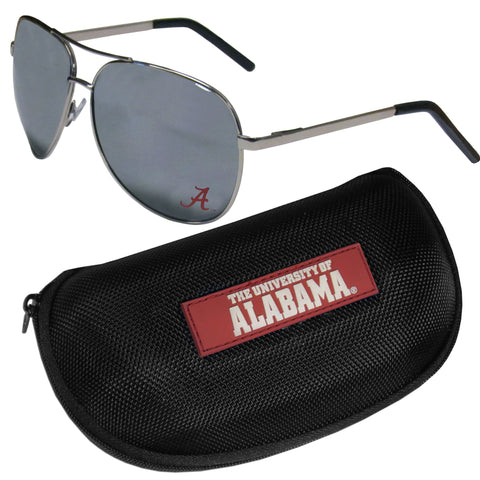 Alabama Crimson Tide Aviator Sunglasses and Zippered Carrying Case