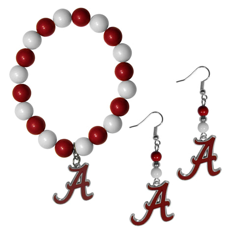 Alabama Crimson Tide Fan Bead Earrings and Bracelet Set