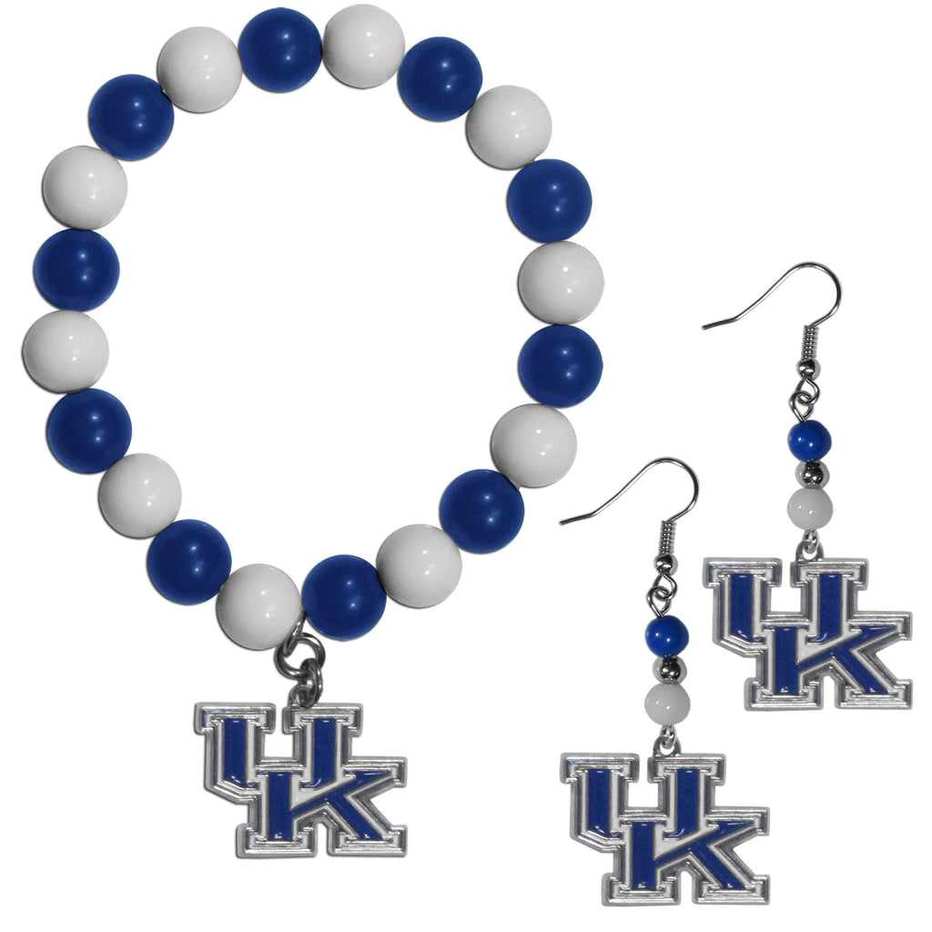 Kentucky Wildcats Fan Bead Earrings and Bracelet Set