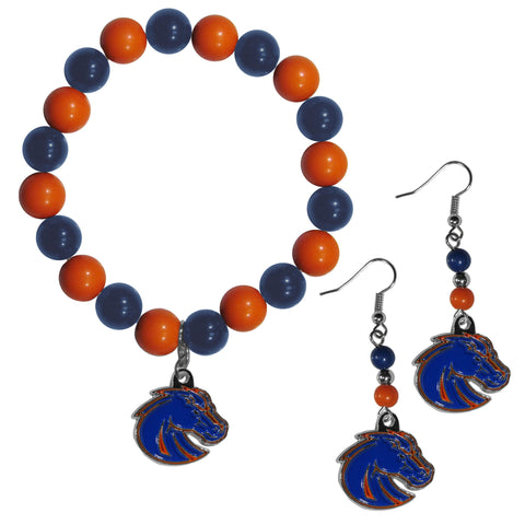 Boise St. Broncos Fan Bead Earrings and Bracelet Set