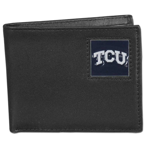TCU Horned Frogs Leather Bi-fold Wallet Packaged in Gift Box