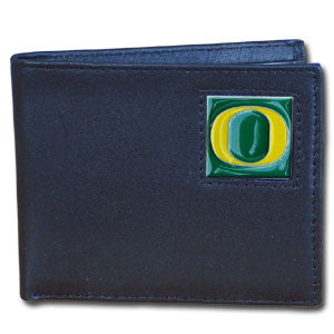 Oregon Ducks Leather Bi-fold Wallet Packaged in Gift Box