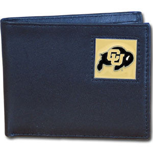 Colorado Buffaloes Leather Bi-fold Wallet Packaged in Gift Box