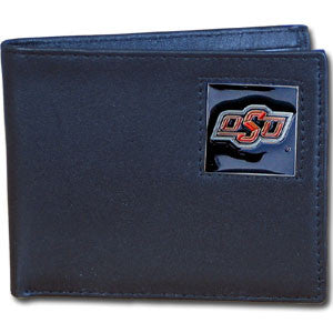 Oklahoma State Cowboys Leather Bi-fold Wallet Packaged in Gift Box