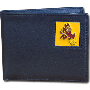 Arizona St. Sun Devils Leather Bi-fold Wallet Packaged in Gift Box