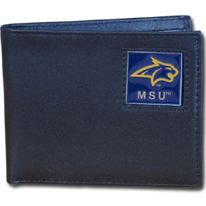 Montana St. Bobcats Leather Bi-fold Wallet Packaged in Gift Box