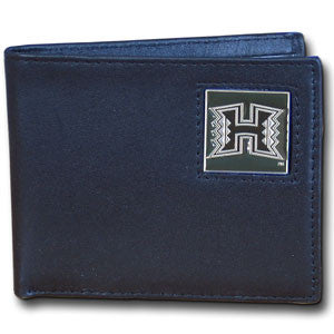 Hawaii Warriors Leather Bi-fold Wallet Packaged in Gift Box