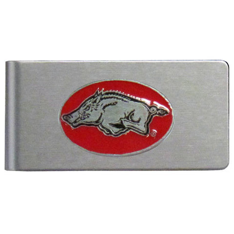 Arkansas Razorbacks Brushed Metal Money Clip