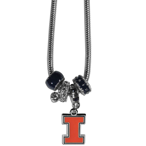 Illinois Fighting Illini Euro Bead Necklace