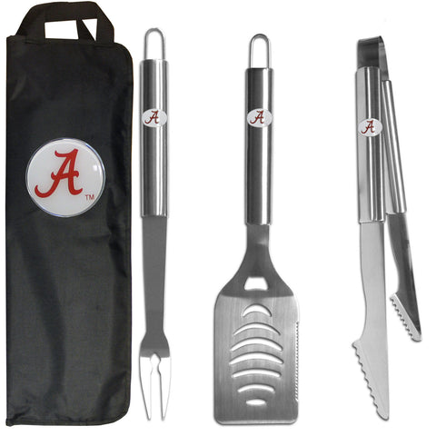 Alabama Crimson Tide 3 pc Stainless Steel BBQ Set with Bag