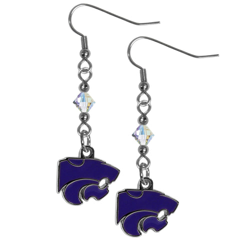 Kansas St. Wildcats Crystal Dangle Earrings