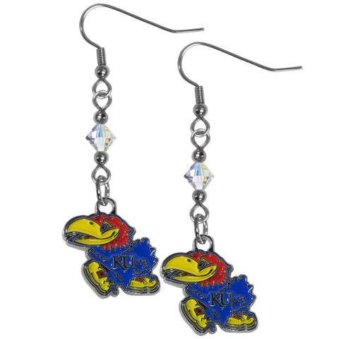 Kansas Jayhawks Crystal Dangle Earrings