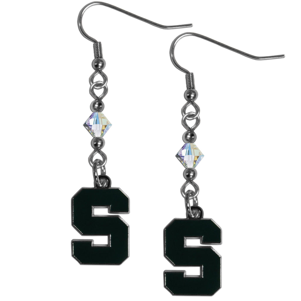 Michigan St. Spartans Crystal Dangle Earrings