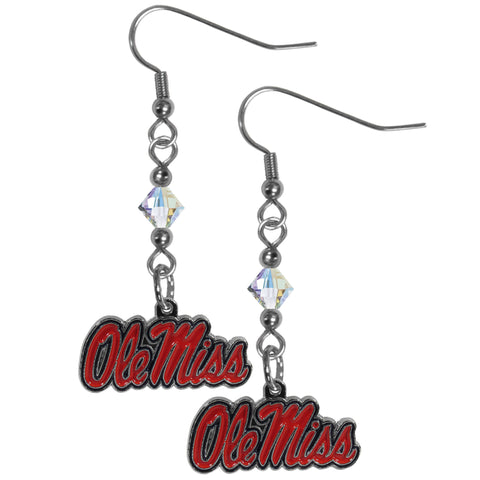 Mississippi Rebels Crystal Dangle Earrings