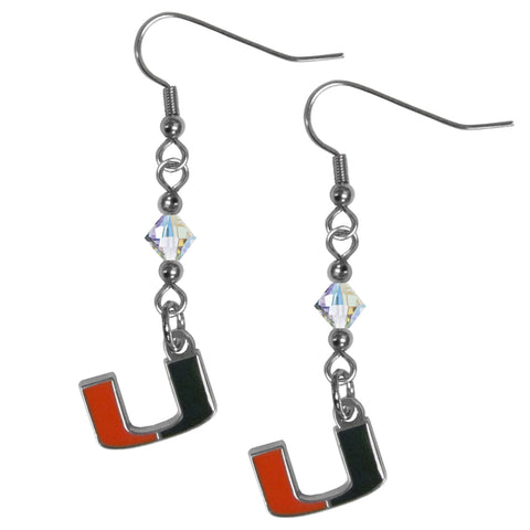 Miami Hurricanes Crystal Dangle Earrings