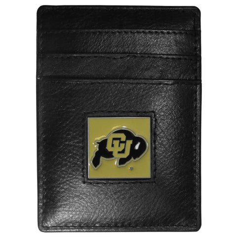 Colorado Buffaloes Leather Money Clip/Cardholder Packaged in Gift Box