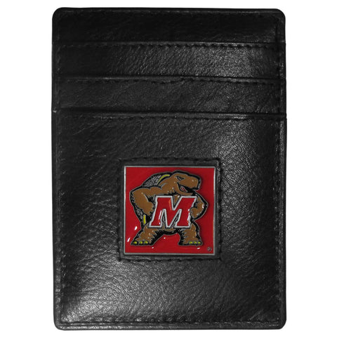 Maryland Terrapins Leather Money Clip/Cardholder Packaged in Gift Box
