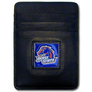 Boise St. Broncos Leather Money Clip/Cardholder Packaged in Gift Box